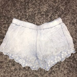 Flowy Embroidered Jean Shorts